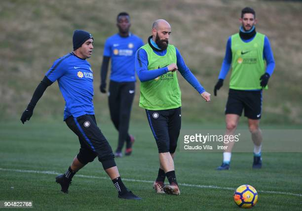 Borja Valero of FC Internazionale in action during the FC Internazionale training session at Suning Training Center at Appiano Gentile on January 14...