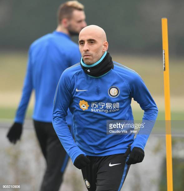 Borja Valero of FC Internazionale in action during the FC Internazionale training session at Suning Training Center at Appiano Gentile on January 15...