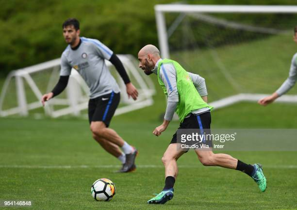 Borja Valero of FC Internazionale in action during the FC Internazionale training session at the club's training ground Suning Training Center in...