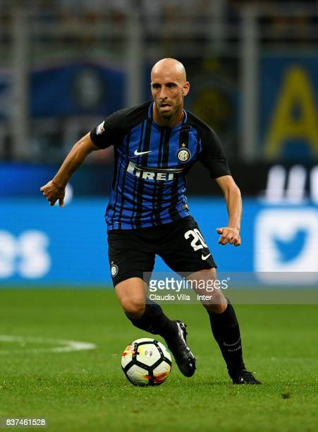 Borja Valero of FC Internazionale in action during the Serie A match between FC Internazionale and ACF Fiorentina at Stadio Giuseppe Meazza on August...