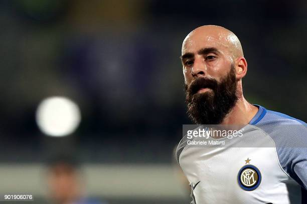 Borja Valero of FC Internazionale in action during the serie A match between ACF Fiorentina and FC Internazionale at Stadio Artemio Franchi on...