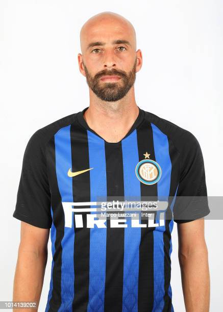 Borja Valero of FC Internazionale poses with the club shirt during the FC Internazionale training session at the club's training ground Suning...