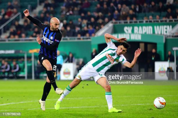 Borja Valero of FC Internazionale takes a shot during the UEFA Europa League Round of 32 First Leg match between SK Rapid Wien and FC Internazionale...