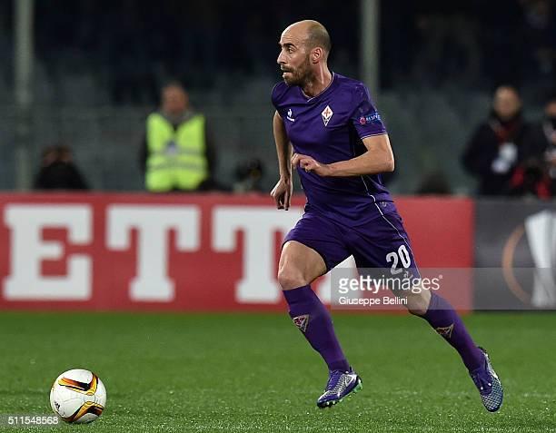 Borja Valero of Fiorentina in action during the UEFA Europa League Round of 32 first leg match between Fiorentina and Tottenham Hotspur at Stadio...