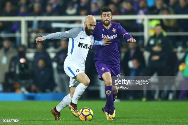 Borja Valero of Internazionale and Marco Benassi of Fiorentina during the serie A match between ACF Fiorentina and FC Internazionale at Stadio...