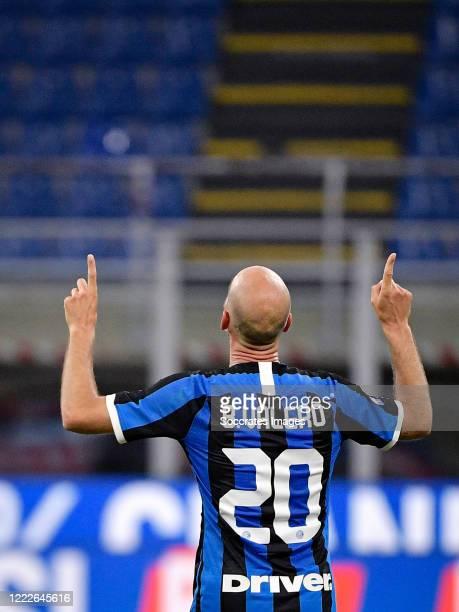 Borja Valero of Internazionale celebrates 32 during the Italian Serie A match between Internazionale v Sassuolo at the San Siro on June 24 2020 in...