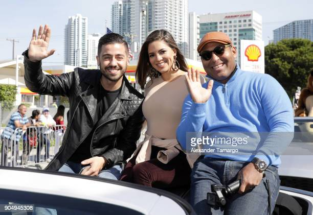 Borja Voces Pamela Silva and Tony Dandrades are seen at the 2018 Three Kings Day Parade on January 14 2018 in Miami Florida