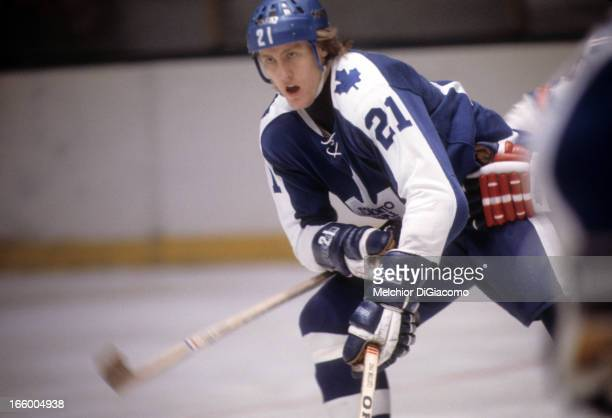 Borje Salming of the Toronto Maple Leafs skates on the ice during an NHL game against the New York Rangers circa 1975 at the Madison Square Garden in...