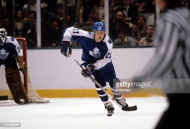 Borje Salming of the Toronto Maple Leafs skates with the puck during an NHL game in April 1981