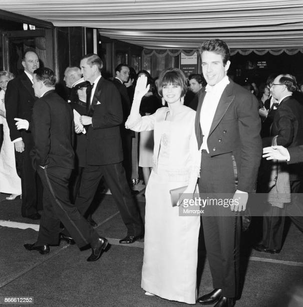 Born Free 1966, Royal Film Performance, The Odeon, Leicester Square, London, Monday 14th March 1966, picture shows actors Leslie Caron and Warren...