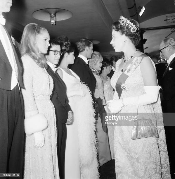 Born Free 1966 Royal Film Performance The Odeon Leicester Square London Monday 14th March 1966 picture shows Ursula Andress meets the Queen also...