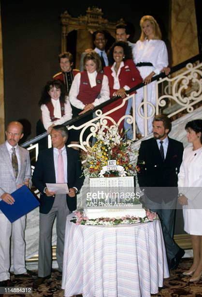 """Born To Run"""" 100th Episode Celebration - Airdate: November 7, 1987. FOREGROUND: DUANE POOLE ;TOM SWALE ;JAMES BROLIN;CONNIE SELLECCA STAIRCASE (L-R:..."""