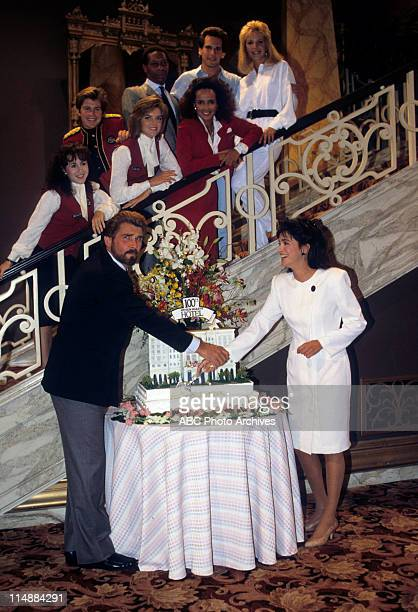 """Born To Run"""" 100th Episode Celebration - Airdate: November 7, 1987. FOREGROUND: JAMES BROLIN;CONNIE SELLECCA STAIRCASE (L-R: VALERIE LANDSBURG;TY..."""