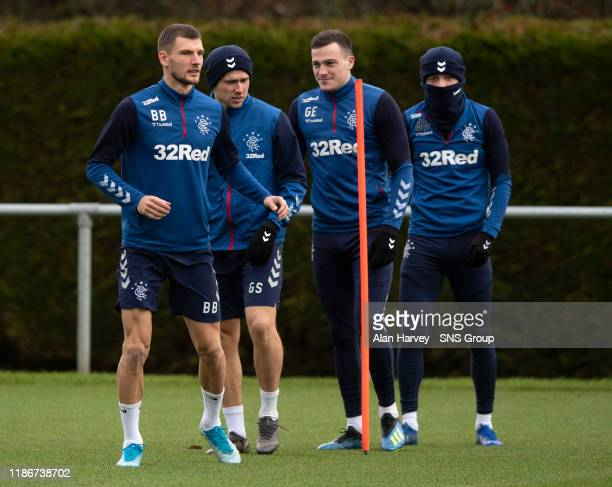 Borna Barisic Greg Stewart and George Edmundson are pictured during a Rangers training session at the Hummel Training Centre on December 06 in...
