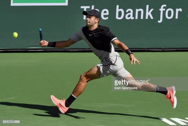 Borna Coric chases down a ball in the first set of a semifinals match played during the BNP Paribas Open on March 17 2018 at the Indian Wells Tennis...
