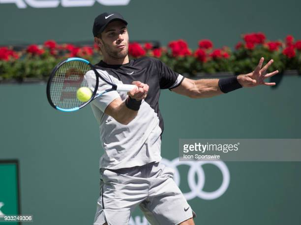 Borna Coric during his loss to Roger Federer in the men's singles semifinal on March 17 2018 at the BNP Paribas Open at the Indian Wells Tennis...