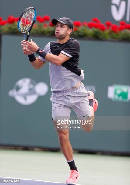Borna Coric hits backhand during the semifinals of the BNP Paribas Open on March 17 at the Indian Wells Tennis Gardens in Indian Wells CA