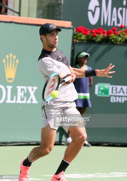 Borna Coric hits forehand during the semifinals of the BNP Paribas Open on March 17 at the Indian Wells Tennis Gardens in Indian Wells CA