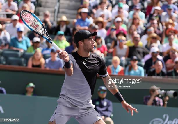 Borna Coric hits volley during the semifinals of the BNP Paribas Open on March 17 at the Indian Wells Tennis Gardens in Indian Wells CA