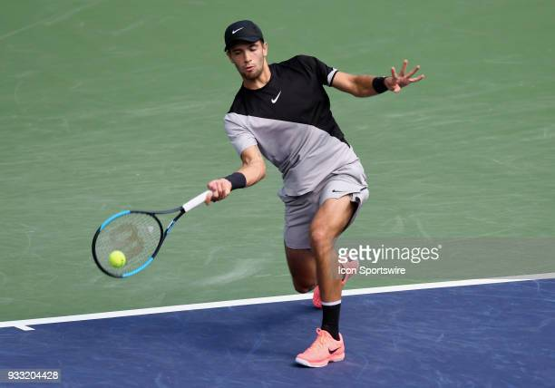 Borna Coric in action in the first set of a semifinals match played during the BNP Paribas Open on March 17 2018 at the Indian Wells Tennis Garden in...