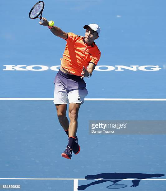 Borna Coric of Croatia a plays a forehand shot in his match against Andrew Whittington of Australia during day one of the 2017 Priceline Pharmacy...