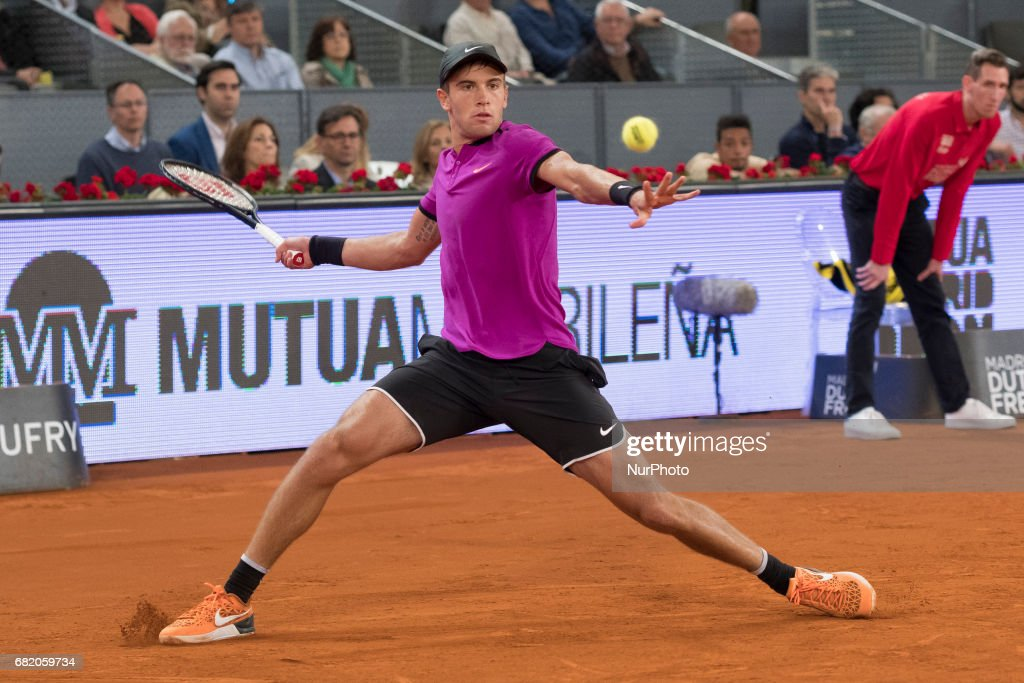 Borna Coric of Croatia against Andy Murray of United Kingdom during day six of the Mutua Madrid Open tennis at La Caja Magica on May 11, 2017 in Madrid, Spain.