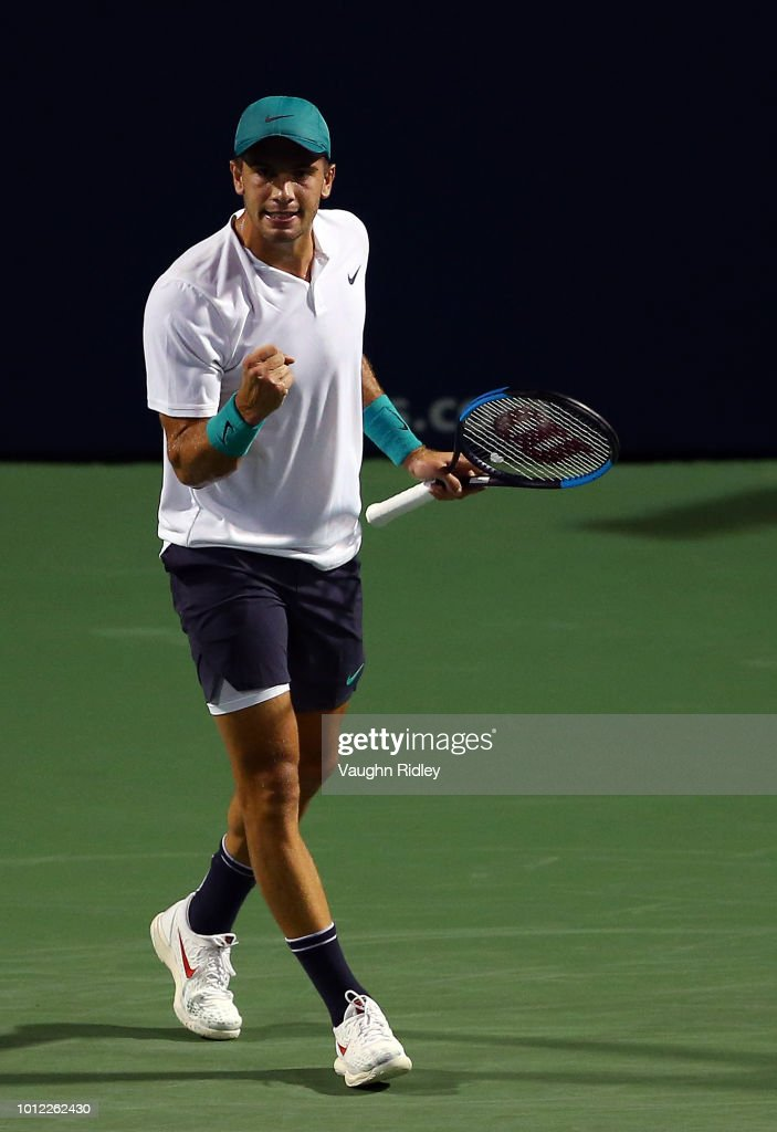 Borna Coric of Croatia celebrates a point against Vasek Pospisil of Canada during a 1st round match on Day 1 of the Rogers Cup at Aviva Centre on August 6, 2018 in Toronto, Canada.
