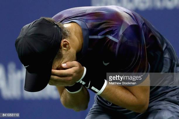 Borna Coric of Croatia celebrates defeating Alexander Zverev of Germany in their second round Men's Singles match on Day Three of the 2017 US Open at...