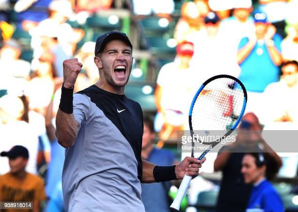 Borna Coric of Croatia celebrates his victory 76 46 76 victory against Denis Shapovalov of Canada during the fourth round on Tuesday March 27 at the...
