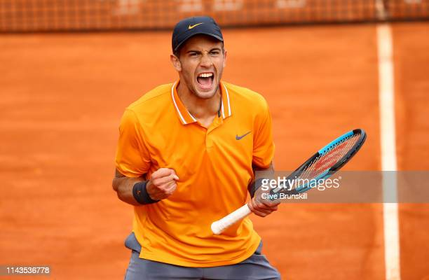 Borna Coric of Croatia celebrates match point against Pierre-Hugues Herbert of France in their third round match during day five of the Rolex...