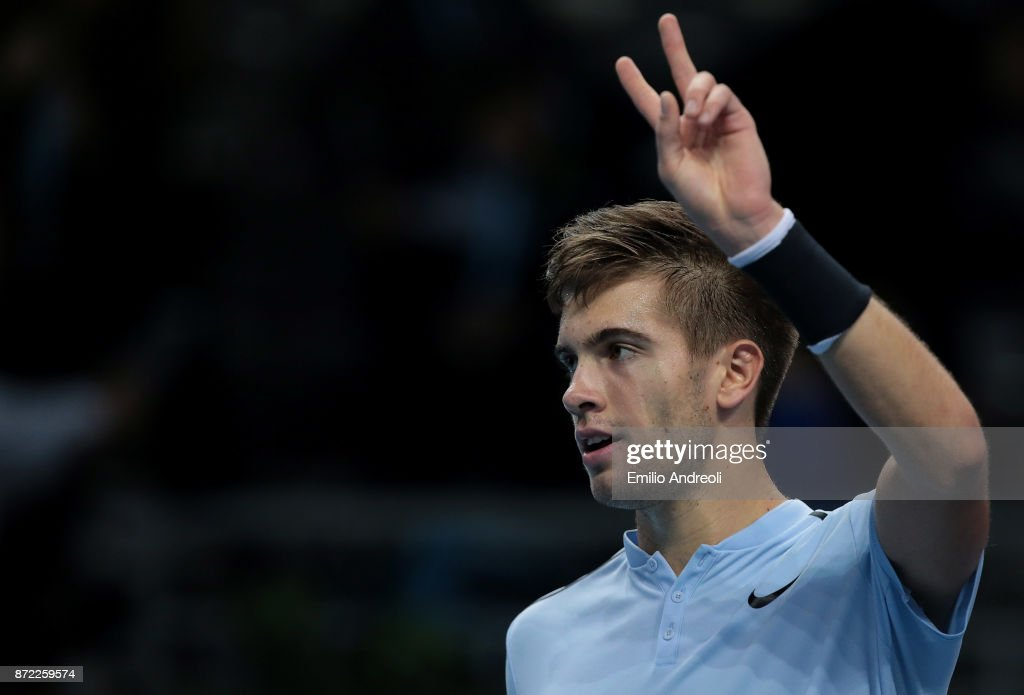Borna Coric Of Croatia Celebrates The Victory At The End Of The
