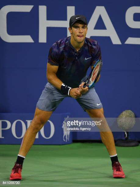 Borna Coric of Croatia competes against Alexander Zverev of Germany in Men's Singles round two tennis match within 2017 US Open Tennis Championships...
