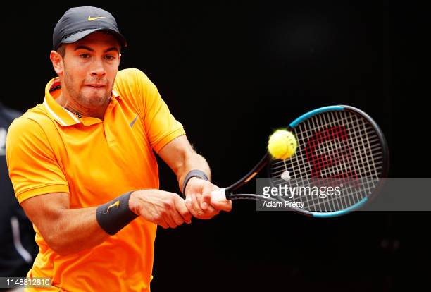 Borna Coric of Croatia hits a backhand during his first round match agains Felix Auger-Aliassime of Canada during day two of the International BNL...