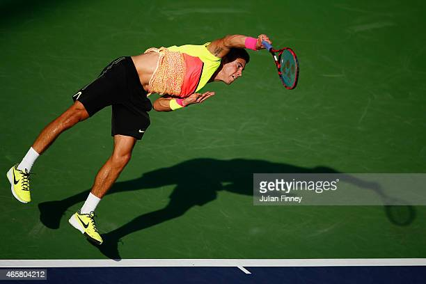 Borna Coric of Croatia in action against Artem Smirnov of Ukraine during day two of the BNP Paribas Open tennis at the Indian Wells Tennis Garden on...