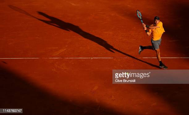 Borna Coric of Croatia plays a backhand against Fabio Fognini of Italy in their quarter final match during day six of the Rolex Monte-Carlo Masters...
