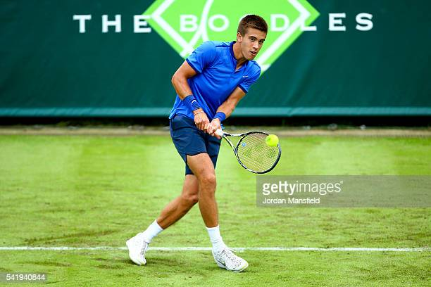 Borna Coric of Croatia plays a backhand during his match against Juan Martin del Potro of Argentina during day one of The Boodles Tennis Event at...
