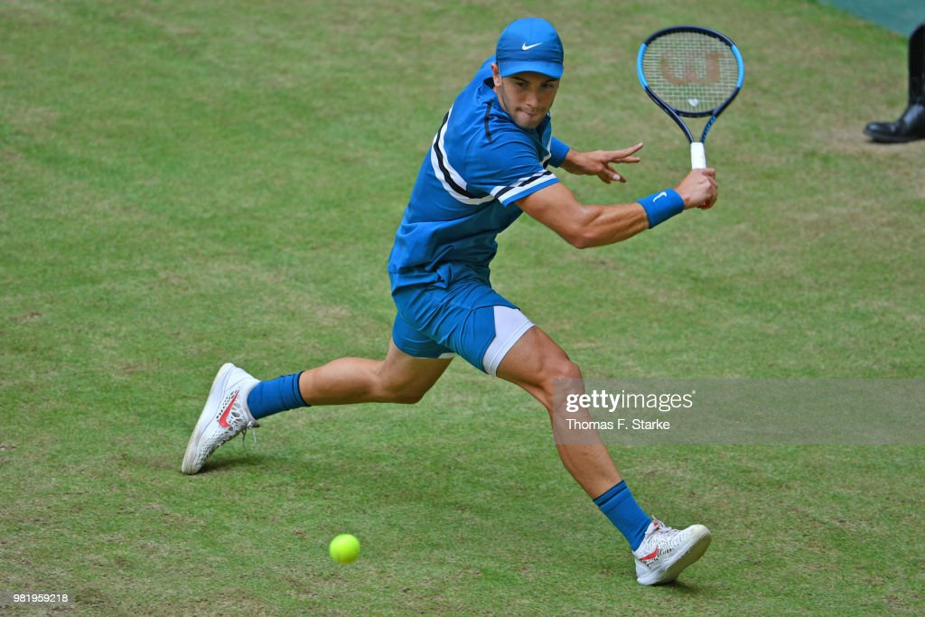 Borna Coric of Croatia plays a backhand in his half final match against Roberto Bautista Agut of Spain during day six of the Gerry Weber Open at Gerry Weber Stadium on June 23, 2018 in Halle, Germany.