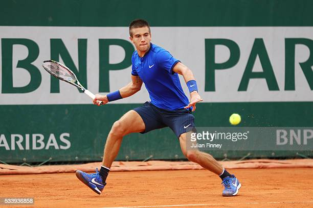 Borna Coric of Croatia plays a forehand during the Men's Singles first round match against Taylor Fritz of United States on day three of the 2016...