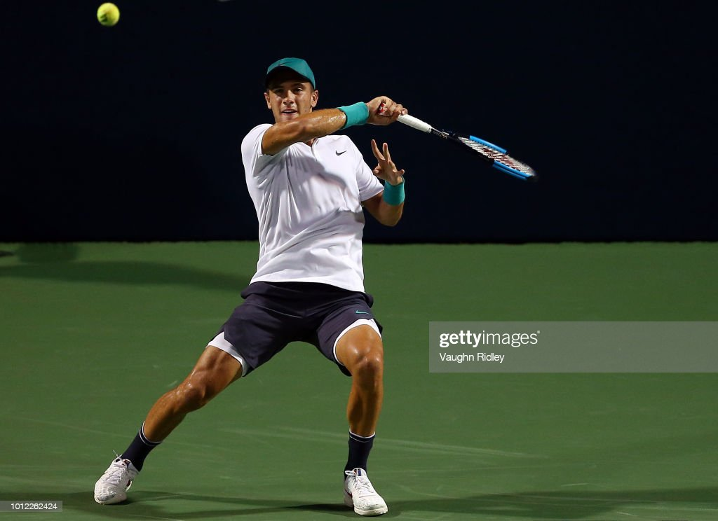 Borna Coric of Croatia plays a shot against Vasek Pospisil of Canada during a 1st round match on Day 1 of the Rogers Cup at Aviva Centre on August 6, 2018 in Toronto, Canada.