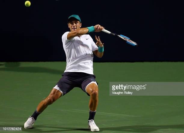 Borna Coric of Croatia plays a shot against Vasek Pospisil of Canada during a 1st round match on Day 1 of the Rogers Cup at Aviva Centre on August 6...