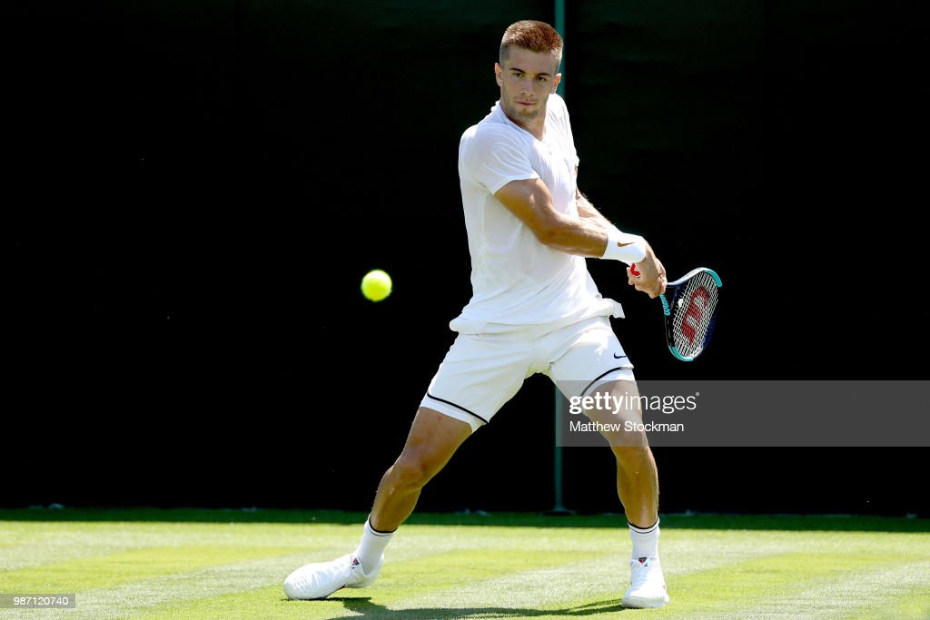 Borna Coric of Croatia practices on court during training for the Wimbledon Lawn Tennis Championships at the All England Lawn Tennis and Croquet Club at Wimbledon on June 29, 2018 in London, England.