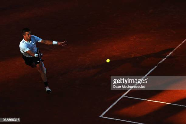 Borna Coric of Croatia returns a forehand in his match to Stefanos Tsitsipas of Greece during day 3 of the Internazionali BNL d'Italia 2018 tennis at...
