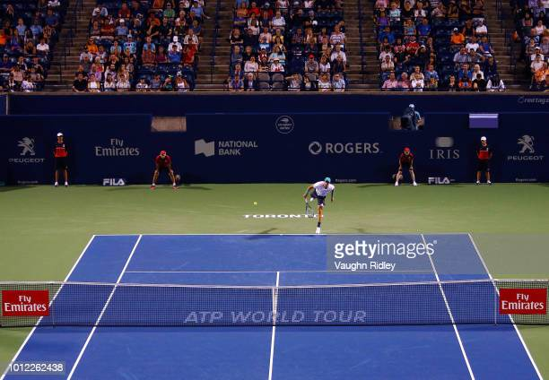 Borna Coric of Croatia serves against Vasek Pospisil of Canada during a 1st round match on Day 1 of the Rogers Cup at Aviva Centre on August 6 2018...