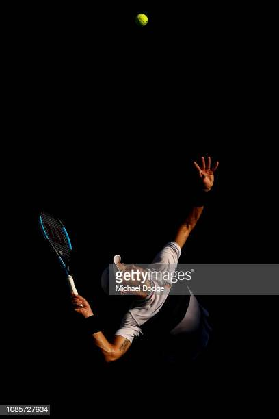 Borna Coric of Croatia serves in his fourth round match against Lucas Pouille of France during day eight of the 2019 Australian Open at Melbourne...
