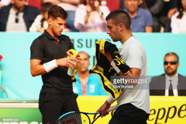 Borna Coric of Croatia shows his dejection against Dominic Thiem of Austria in their third round match during day six of the Mutua Madrid Open tennis...