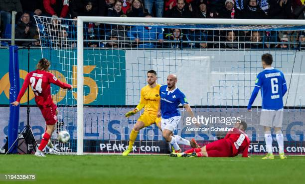 Borna Sosa of Stuttgart scores the first goal for his team during the Second Bundesliga match between SV Darmstadt 98 and VfB Stuttgart at...