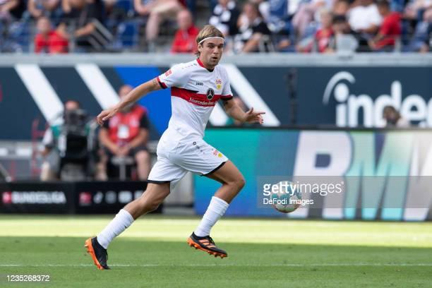 Borna Sosa of VfB Stuttgart controls the ball during the Bundesliga match between Eintracht Frankfurt and VfB Stuttgart at Deutsche Bank Park on...