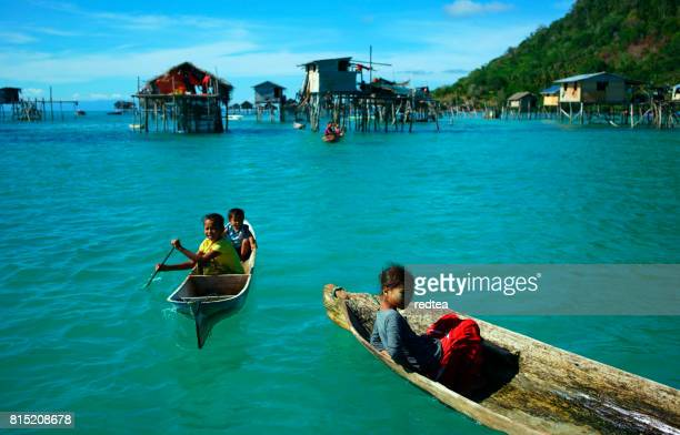borneo sea gypsy. - mabul island stock photos and pictures