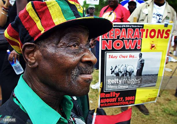 Borneti Phillipis, 76-years-old, from Wackegan, Illinois, joins hundreds of black demonstrators for slave reparations on the National Mall August 17,...