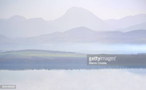 Bornos Reservoir and mountains